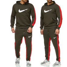 Brand Tracksuit men thermal underwear Men Sportswear Sets Fleece Thick hoodie+Pants Sporting Suit Malechandal hombre New 2019