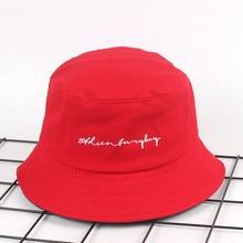b08eada1d1b20c Letter embroidery bucket hat for men women fashion outdoor fishing hat mens  panama summer lovers flat hat hip hop bob cap RED