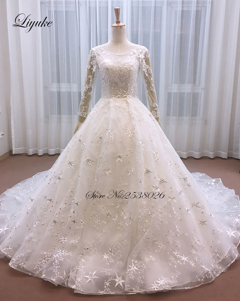 Lustrous Unique Embroidery Tulle Scoop Beading Crystal Stars A-Line Wedding Dress With Court Train Applique Vintage Gown