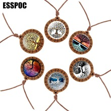 Tree of Life Glass Cabochon Necklace Wooden Vintage Rope Chain Women Men Pendant Jewelry