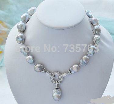 CHAUDE 0015302 gris baroque keshi Reborn collier pendentif