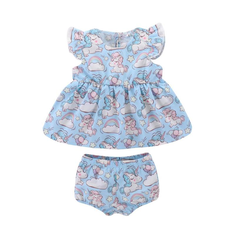 2Pcs Summer Baby Girls Clothes Set Cute Girls Tops +Shorts Horse Print Fly Sleeve O-Neck Tops Elastic Shorts for Newborn Bebe