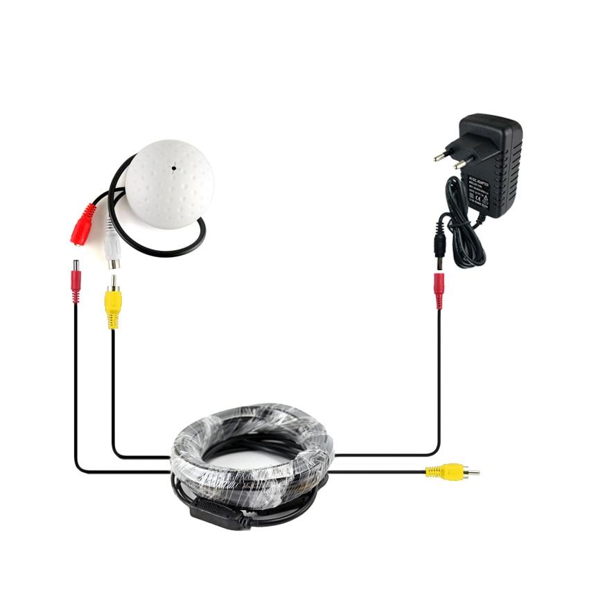SMTKEY CCTV Microphone Security Camera Audio Mic Wide Range Microphone + 5m DC/AV Cab +Power Adapter For CCTV Cameras DVR System