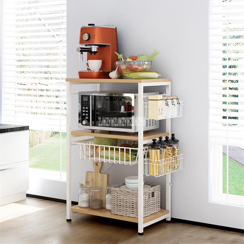 D4226 Simple Modern Storage Rack Kitchen Landing Shelf Steel Frame Density Plate Household Multi-Layer Microwave Oven Shelf