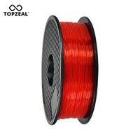 TOPZEAL Clear 3D Plastic Filament PLA Filament 1.75mm 1KG Dimensional Accuracy +/ 0.02mm Transparent Red for 3D Printer