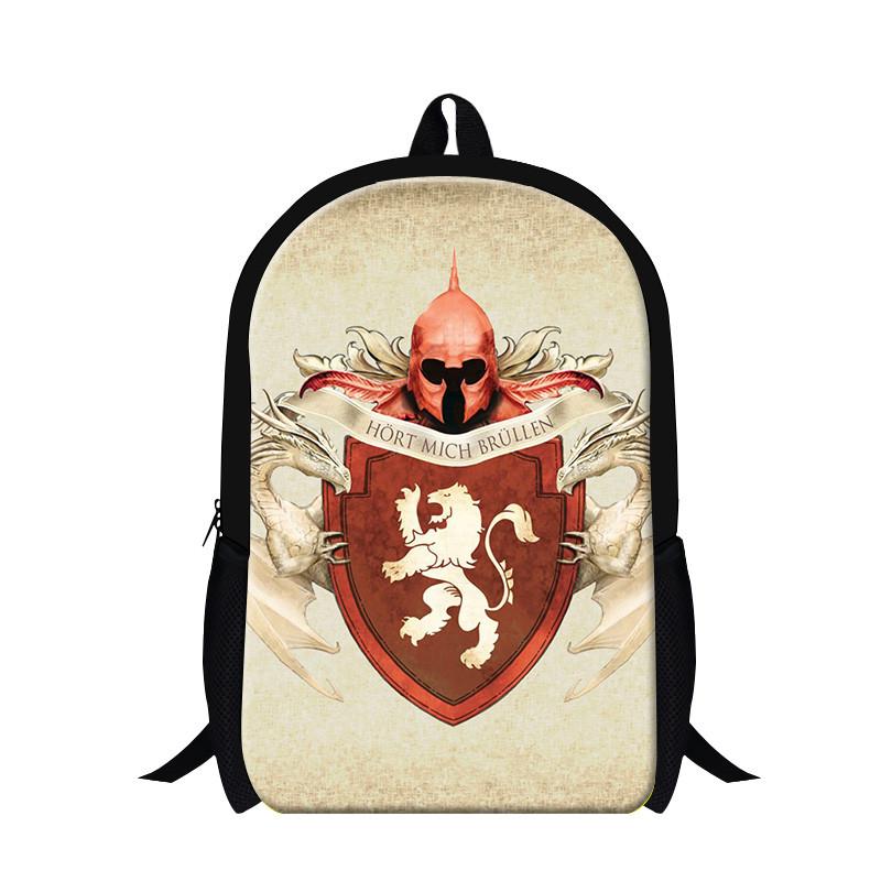 School Backpack Custom Daenerys Stormborn of the House Targaryen Game of Thrones Printed Kid\'s School Bag free shipping