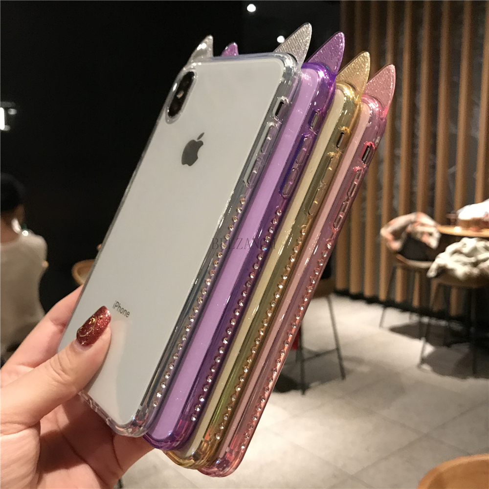 Phone Cases For iPhone 6 6s 7 8 Plus Luxury Bling Diamond Cute Cat Ears Clear Soft TPU Coque For iPhone X Xs Max XR Cover Fundas _09