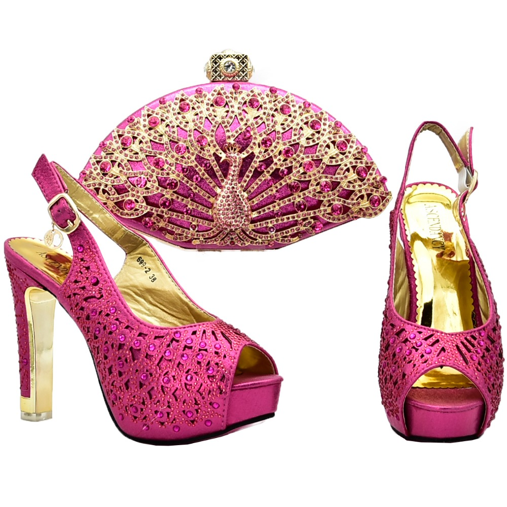 Wedding shoe and bag matching set with rhinestones fushia pink shoe and bag  high heel size37 17bc530a6fcc
