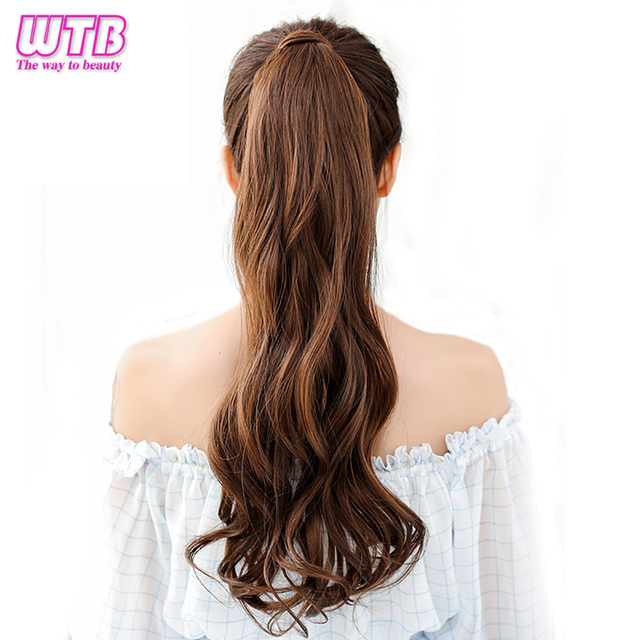 Long Wavy Ponytail Synthetic Hair Wrap Around Clip In Ponytail Hair