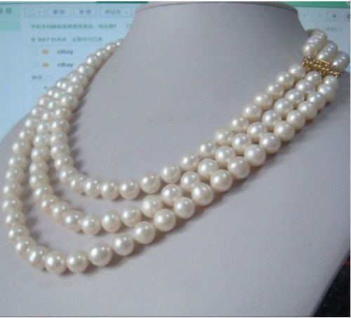 Hot sale new Style >>>>>charming 3 rows AAA+ 9-10mm natural south sea white pearl necklace 1718 1914KGP hot sale new style aaaa 7mm genuine akoya pink sea water pearl necklace 14kgp j5534
