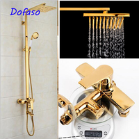 Dofaso luxury all brass great quality big rain retro bath shower faucet bathroom shower panel vintage shower set equipment
