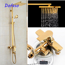Dofaso luxury all brass great quality big rain retro bath shower faucet bathroom panel vintage set equipment