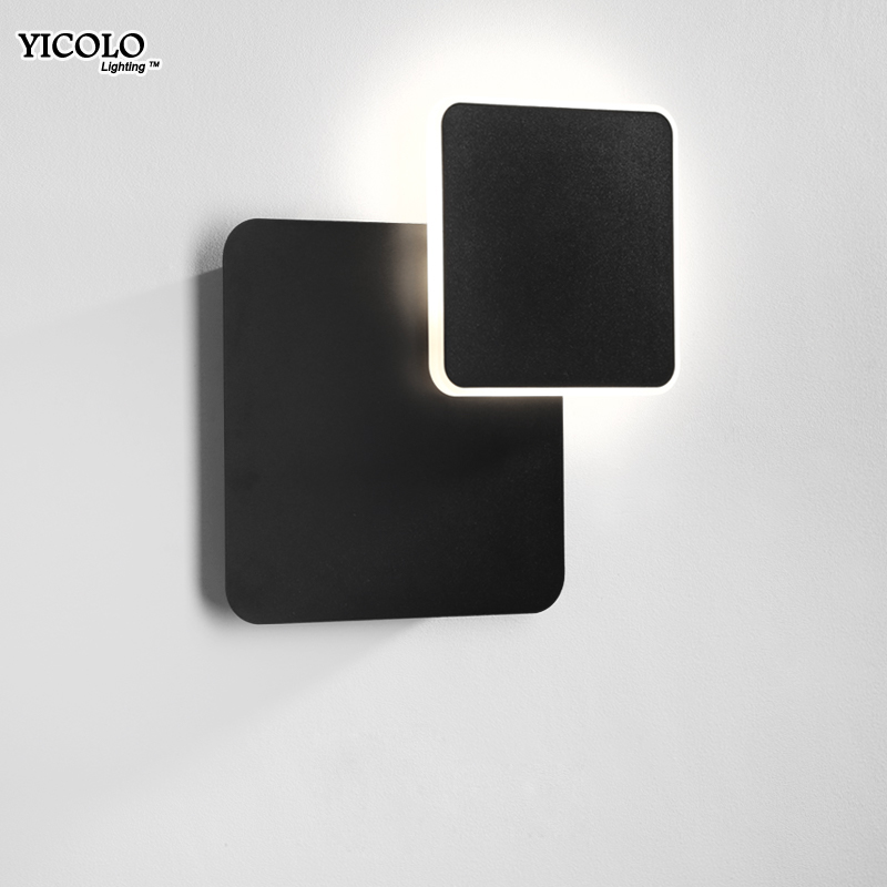 Wall Lamps for Bedroom living room square white black body AC90 260V Indoor Led Wall Lamp Rotatable Plated Metal 5W/16W Sconce