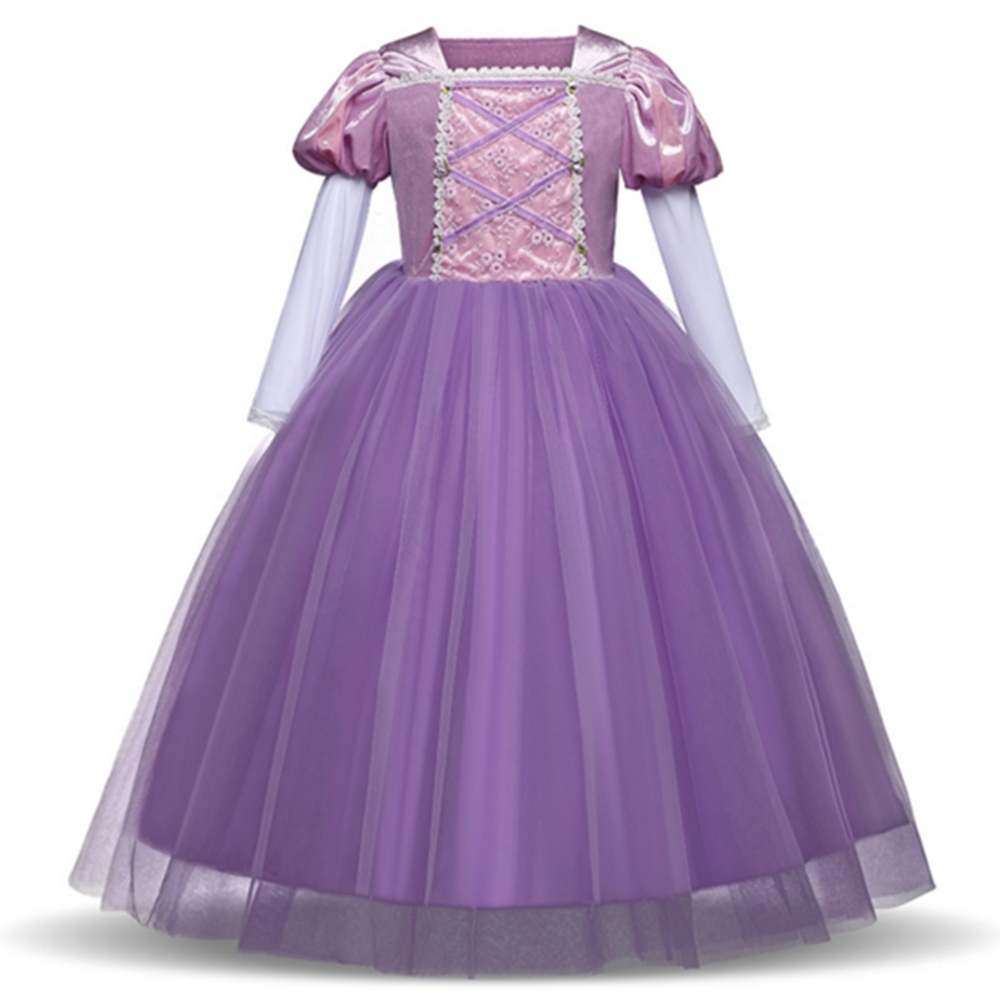 FINDPITAYA Girls Rapunzel Dress Long Puff Sleeve Sofia Ball Gown Children Kids Birthday Carnival Party Princess Cosplay Costume