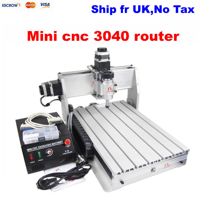 Mini cnc router 3040 Z-S, 4 axis drilling milling machine with wireless handwheel and engravnig clamp, free tax to EU