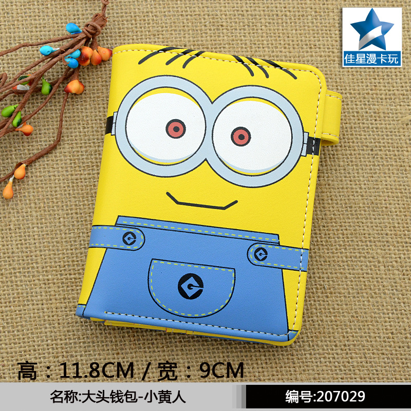 Minion of Despicable Me Colorful Printing PU Short Purse Wallet with Button pu short wallet w colorful printing of naruto shippuden uchiha itachi