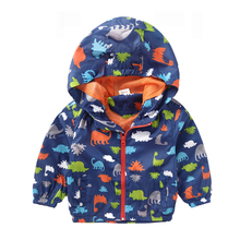 2-5 years Hot Sale Children's Hooded Jackets Summer Boy and Girl Outwear Fashion Long Sleeve Dinosaur Print Coat For Kids
