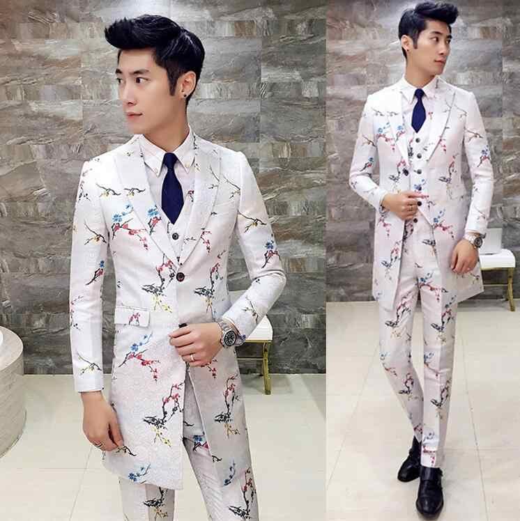 Men flower Suit Black White Floral Suit Long Men Wedding Groom Men Dress Suit Party Business Slim Fit Long (Jacket +Vest+ Pant)