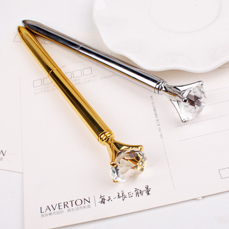 Real Metal big Diamond Ball-Point Pen High-Quality Fashion Business Pen promotion school stationery Gift crystal pen big promotion 100