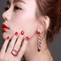 Оптовая Ярко-Красный цвет Ювелирные наборы 67 мм Длинные серьги мода кольцо Siam кристаллов CZ Серьги Роскошные Партия Наборы для свадьба