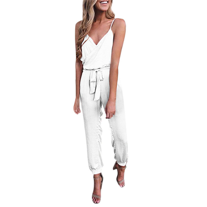 Dream SZ Womens Jumpsuit Summer Solid Color Casual Sleeveless V-Neck Strap Lacing Jumpsuit