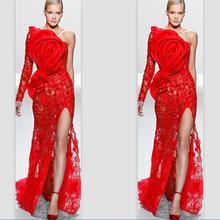 Красные Формальные платья знаменитостей, Русалка одно плечо с длинным рукавом Кружева разрез сексуальные длинные вечерние платья знаменитые Красные ковровые платья
