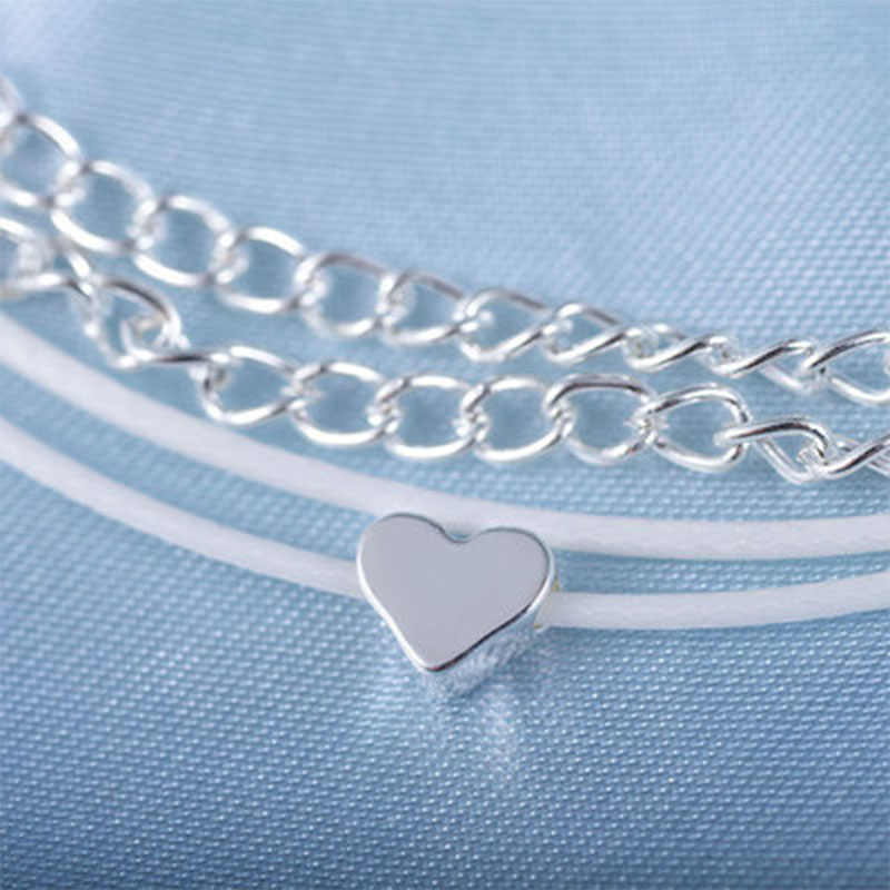 2019 New Anklet Beach Heart Multi-layer Charms Ankle Bohemian Heart-shaped Jewellery Anklets For Women Indian Leg Jewelry WD142
