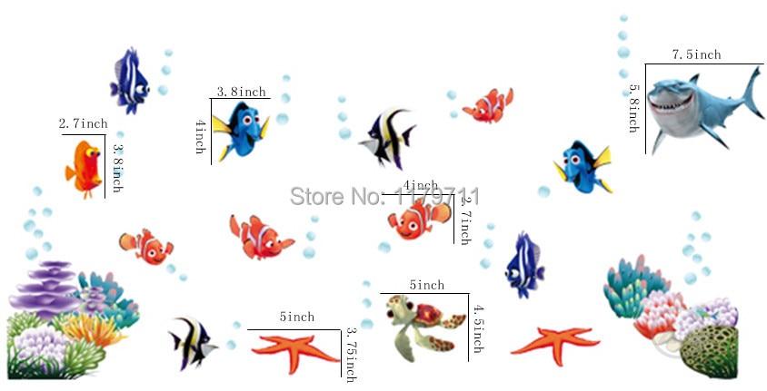 Zs Sticker nemo ձկան մուլտֆիլմ պատի - Տնային դեկոր - Լուսանկար 2