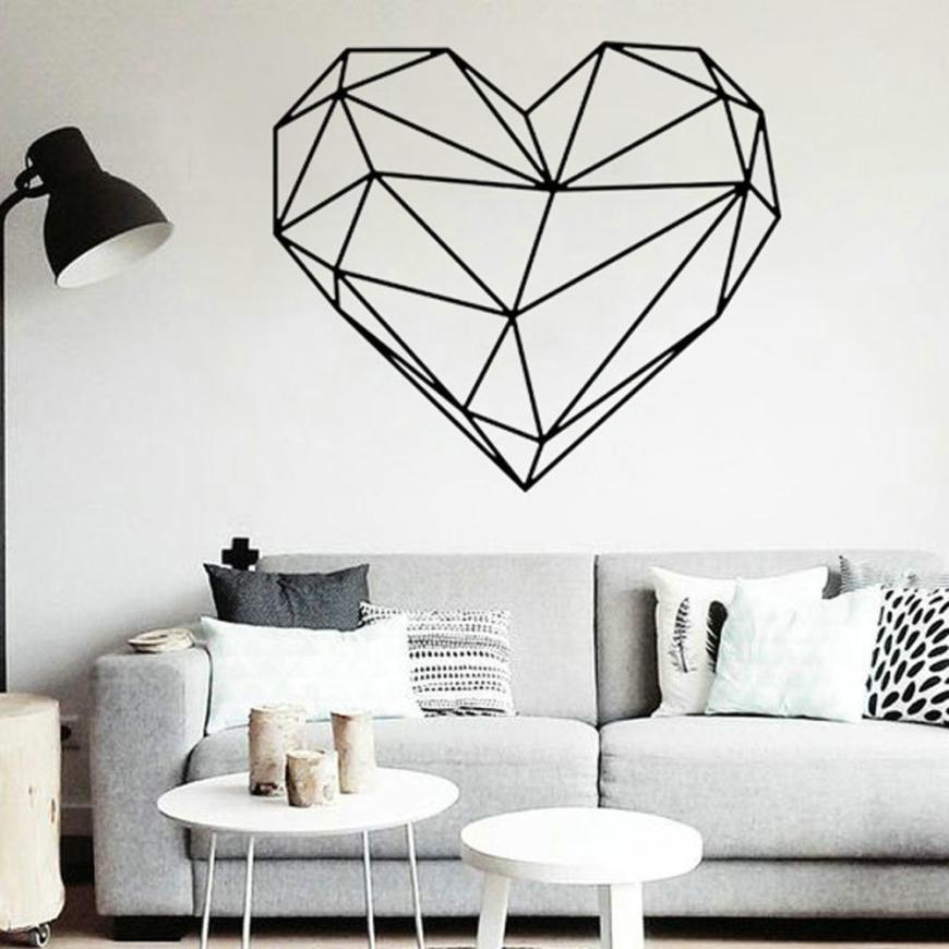 Wall Sticker Valentines Day Love Geometry Window Wall Sticker Mural Decor Decal Removabl ...