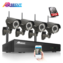 Plug And Play 1080P HD Wireless CCTV System Zoom 2.8mm-12mm Lens Outdoor IR Night Vision Security WIFI IP Camera Kit 2TB HDD