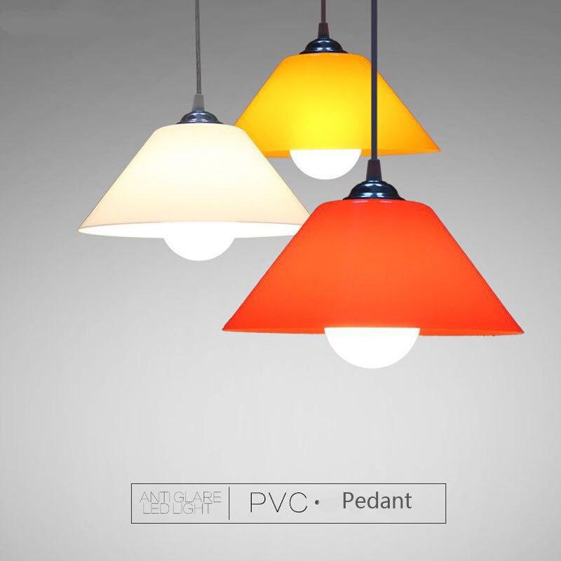 Moderne PVC pendentif luminaires en plastique abat-jour pour cuisine salle à manger accrocher lampe éclairage à la maison décor supermarché Luminaire