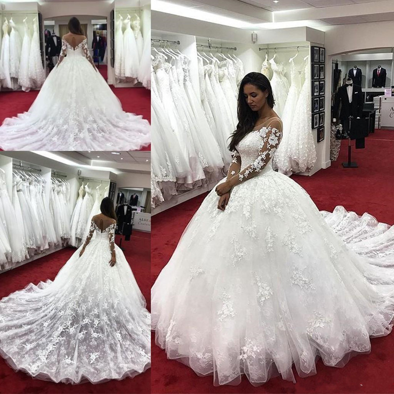 Modern Cheap A-line Wedding Dresses With Lace Appliques Sheer Neck Keyhole Back Court Train  Plus Size Formal Bridal Gowns Longo