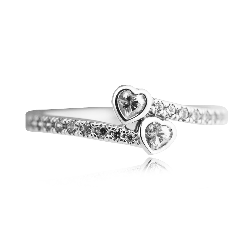 FLR107.1 2017 Valentine\'s Day Ring Women 100% 925 Sterling Silver Clear CZ Forever Hearts Rings For Women Ring Fits European Jewely  (3)