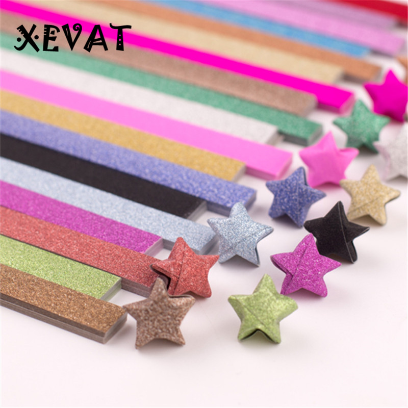 DIY Folding Paper Star Shining Golden Powder Random Ten Colors Lucky Star Origami Decorative Paper Strips Christmas Gift
