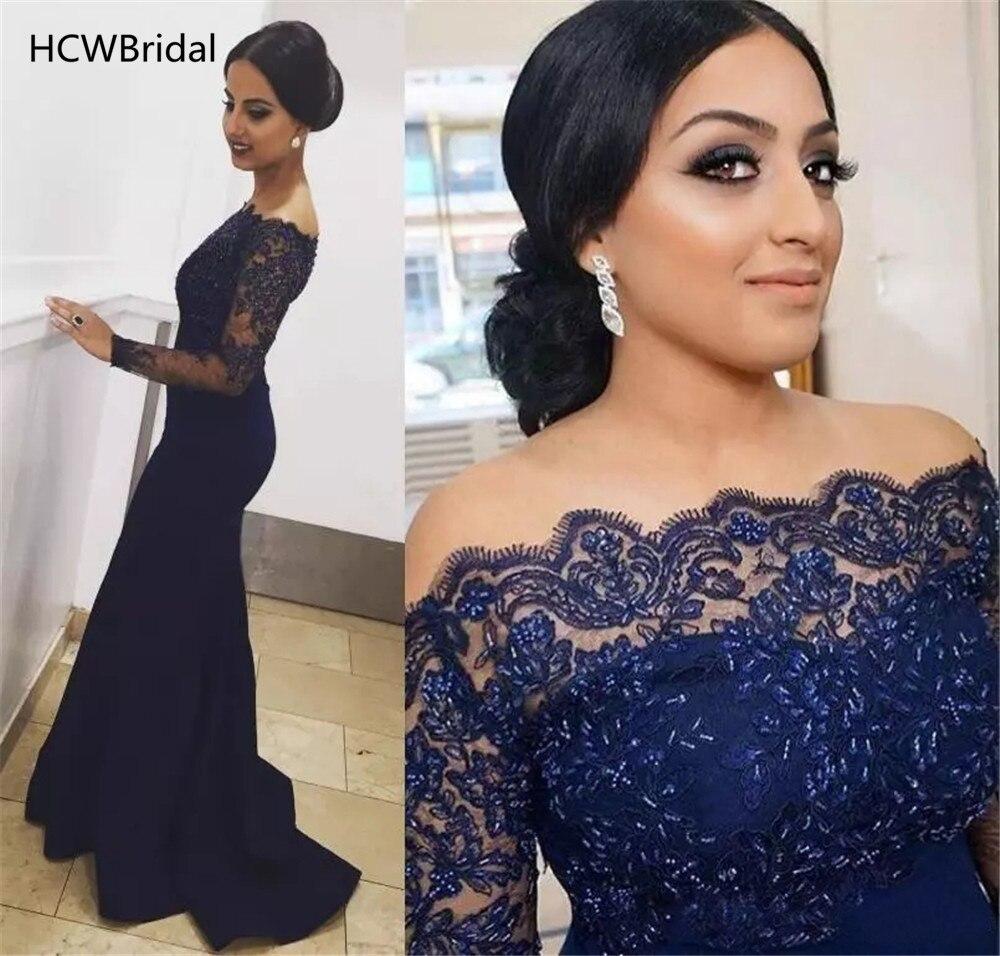 Navy Blue Long Sleeve Mermaid Evening Dress Exquisite Beaded Lace Elastic Satin Floor Length Long Formal Dresses 2019 New
