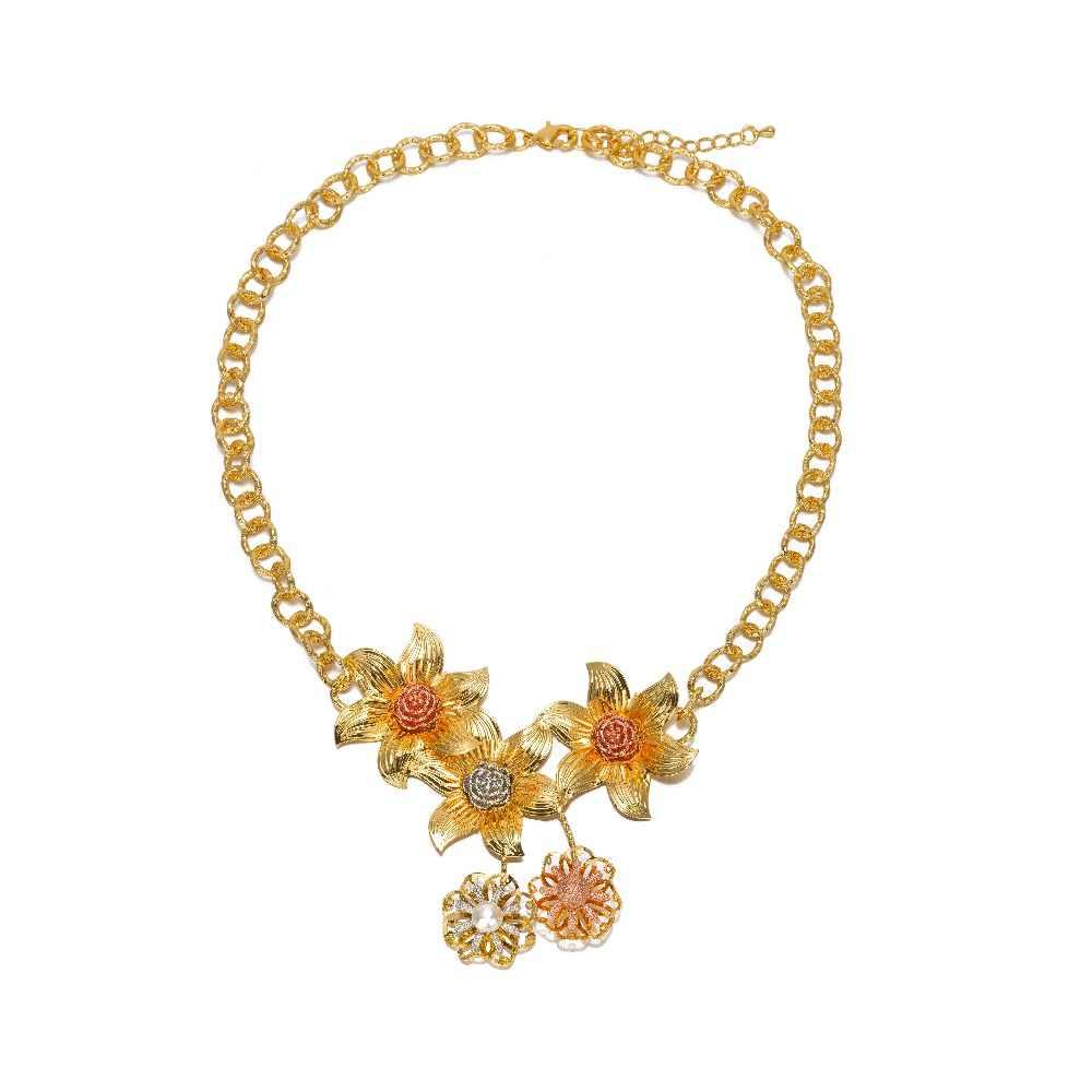 BAUS דובאי תכשיטי זהב צבע אופנה אביזרי פרח חרוז ניגריה אפריקה חתונת סט תכשיטי יום נישואים/מסיבת אבזרי