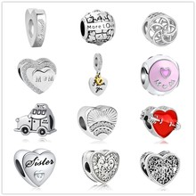 2018 new alloy diy more love car sister mom clip Pendant beads Fit Original Pandora Bead Bracelet For Women Charm DIY P014(China)