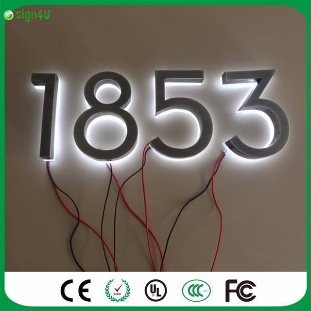 Incrível bonito aço inoxidável número da casa design moderno números de LED para publicidade ao ar livre