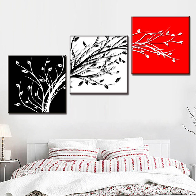 Framed Wall Painting 3 Pcsset Red White Black Tree Branch Canvas