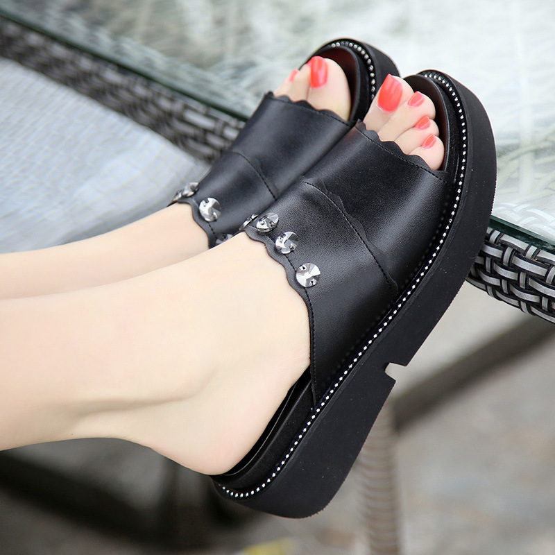 Summer Woman Shoes Platform Sandals Wedge Beach Flip Flops High Heel Slippers For Women Fashion Crystal Slides Shoes Size 34 43 in Slippers from Shoes