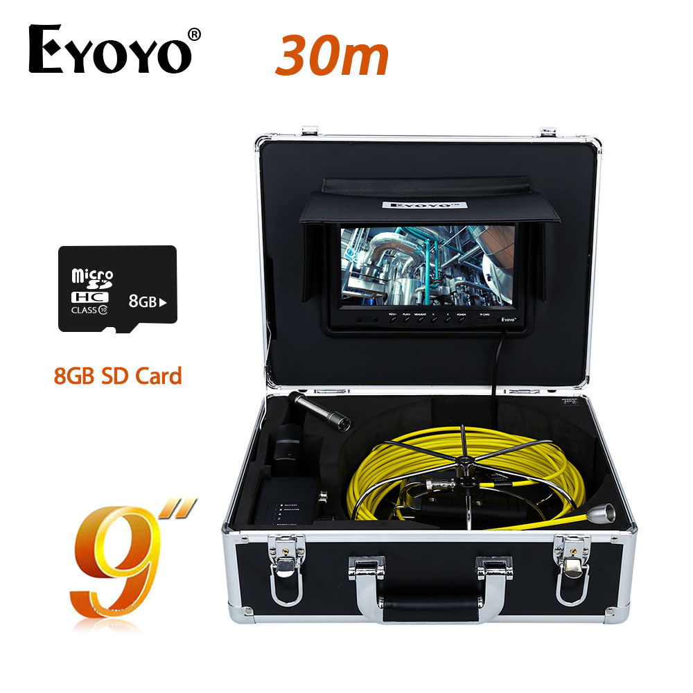 Eyoyo WP90A9 9LCD 30M 17mm 12PCS White LED Sewer Pipe Pipeline Camera Drain Inspection Cam With Free 8GB Card Support AV Output eyoyo 7 lcd screen 20m 800 480 1000tvl 4500mah sewer drain camera pipe wall inspection endoscope w keyboard dvr recording 8gb