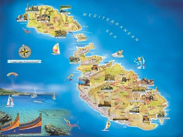 Mediterranean Malta Travel Map Beauty Vintage Retro Decorative