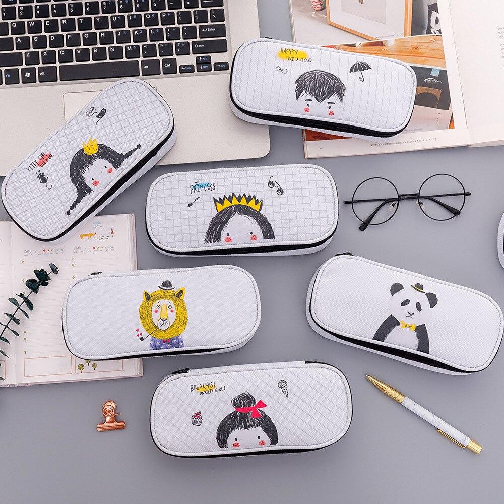 New large-capacity pencil case cute cartoon pen box school multi-function
