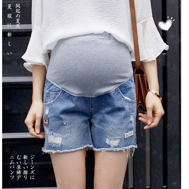 5b4ea1a7216 Yuanjiaxin Maternity Denim Shorts Jeans Plus Size Pregnant Short Blue Maternity  Clothes Pregnancy New Tassel Women Capris