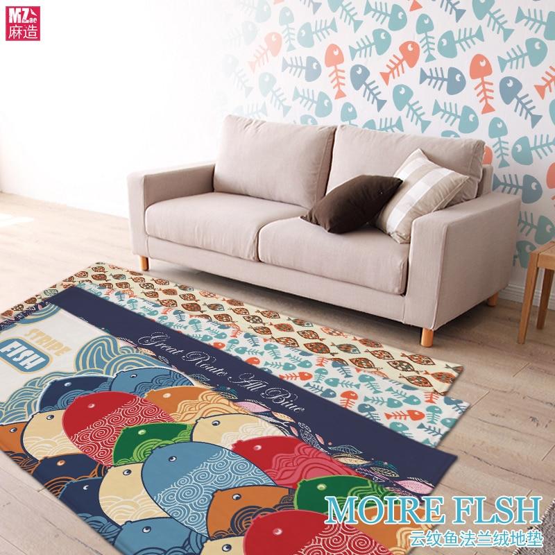 New Cloud Fish Suede Mat Bedroom Bedside Windows Kitchen Water Pad Strip Skidproof Carpet In Mat