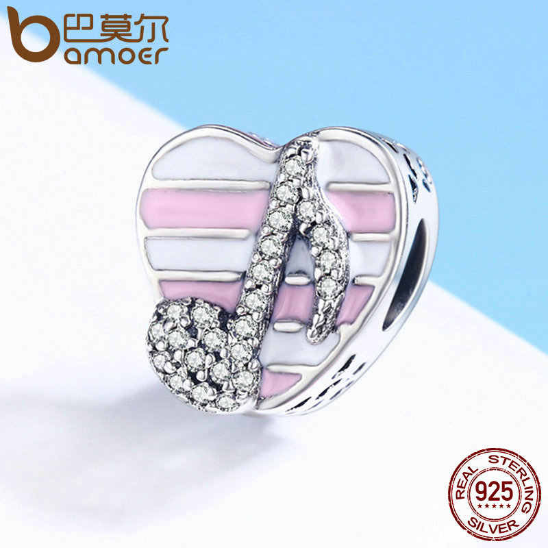 BAMOER High Quality 100% 925 Sterling Silver Romantic Music Note Heart Beads Fit Charm Bracelet Clear CZ Jewelry Gift SCC451