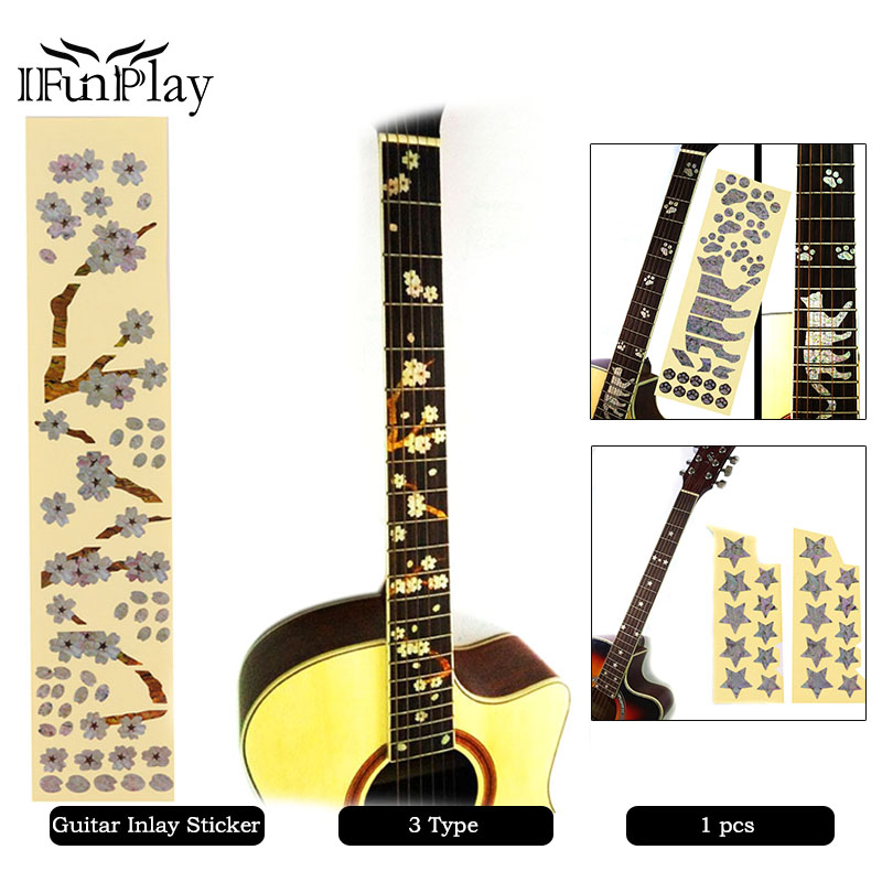 diy cat star blossom pattern acoustic guitar bass electric guitar inlay sticker fret fingerboard. Black Bedroom Furniture Sets. Home Design Ideas