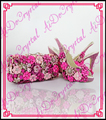 Aidocrystal hecho a mano fucsia crystal partido peep toe de tacón alto slingback zapatos y bolsos a juego para la boda