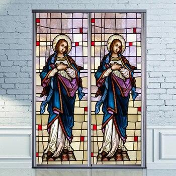 Buntglasfenster Haftet   Dekorative Selbstklebende/statisch Haftenden Matt Gebeizt Continental Fenster Film Tun Können Nach Größe Madonna Mary Bild