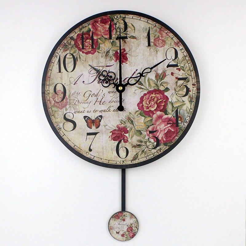 Us 1596 35 Offhurtownie Vintage Dekoracyjne Zegar ścienny Absolutnie Cichy Do Dekoracji Domu Salon ścienny Zegarek Okrągłe Zegary ścienne Duvar